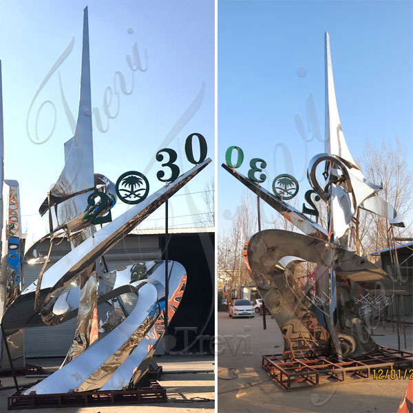 modern mirror polished stainless steel sculpture for backyard cost