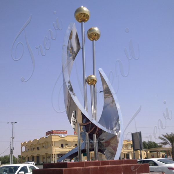 extra large urban decor high polished metal sculpture for school