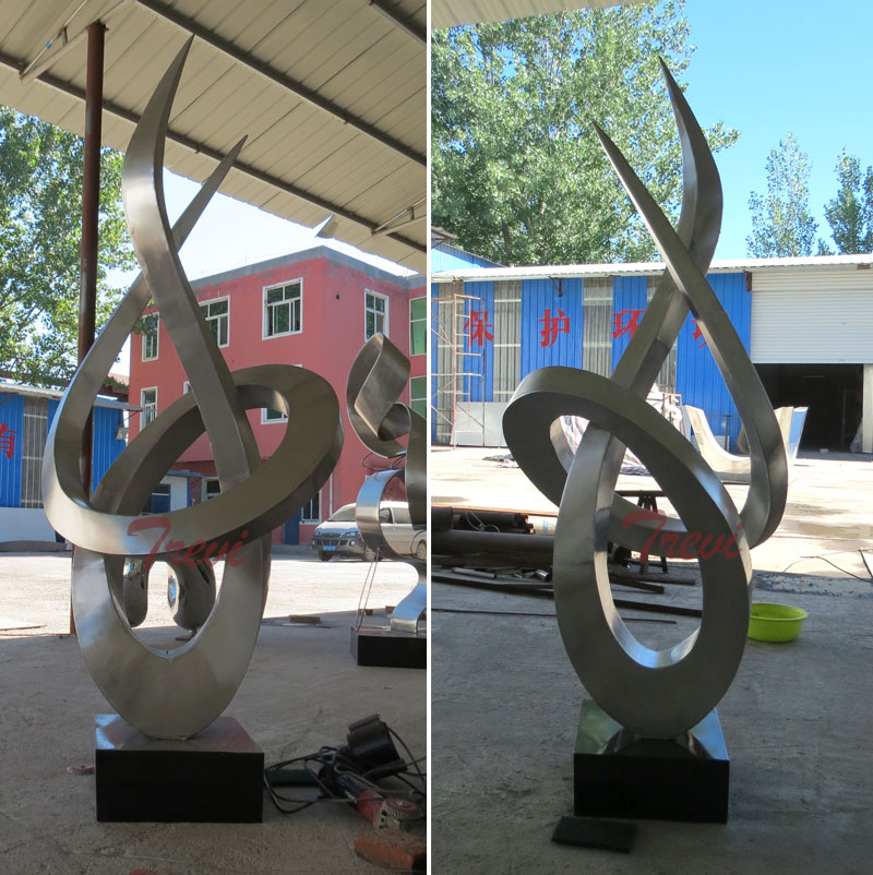 Contemporary outdoor art polished stainless steel abstract sculpture for sale