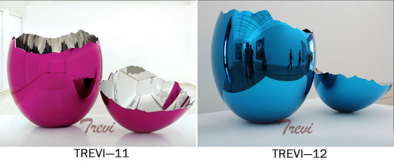 Jeff koons cracked egg contemporary metal artworks replica