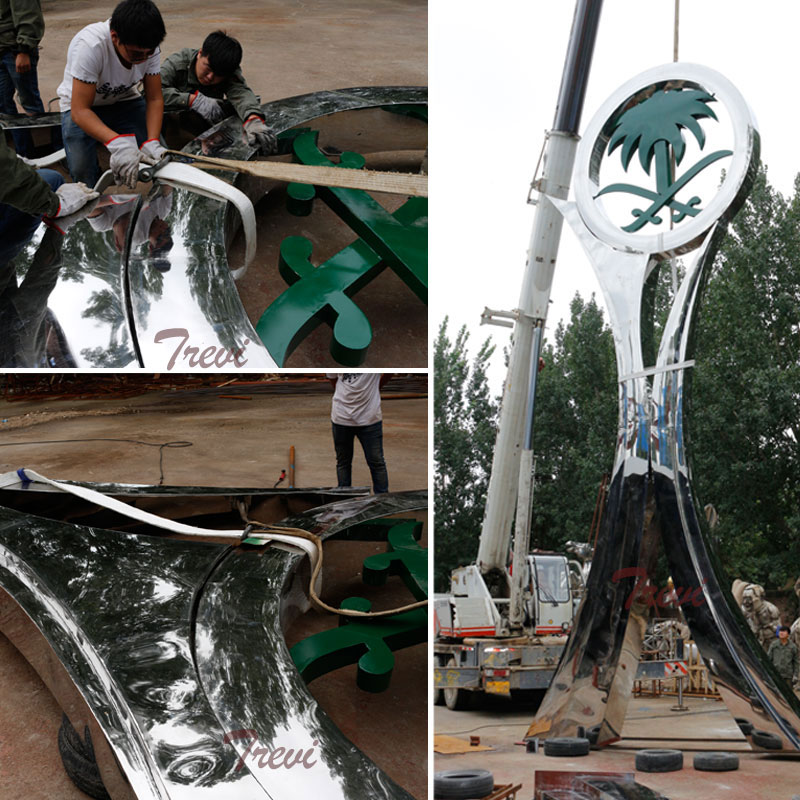 Shipping and installation large polished Stainless Steel Sculpture