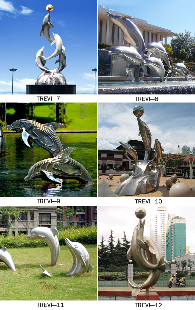 Contemporary art large garden stainless steel dolphin sculpture outdoor designs