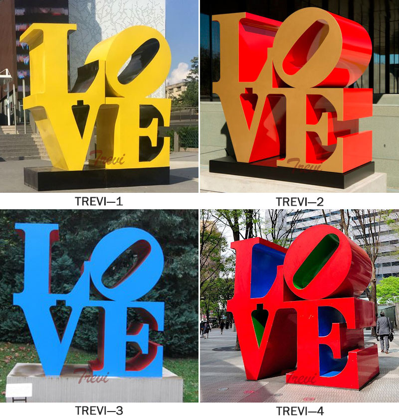 Contemporary metal art stainless steel sculpture love famous replica designs