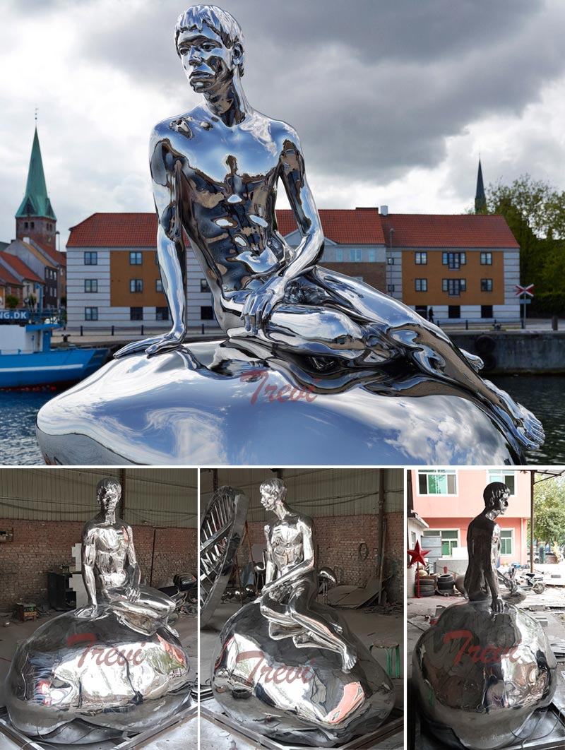 Custom made mermaid nude man high polished stainless steel statue outdoor