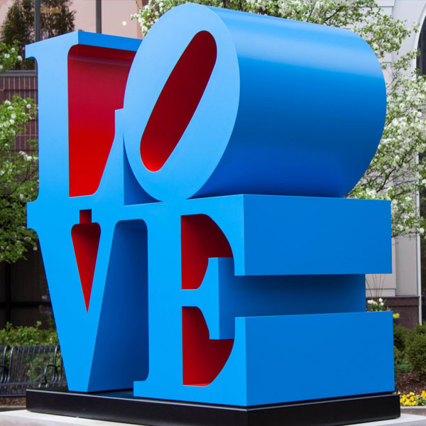Custom made modern large stainless steel sculpture 'love' replication online to buy TSS-34