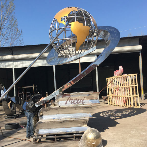Large garden stainless steel metal global sculpture for sale TSS-27