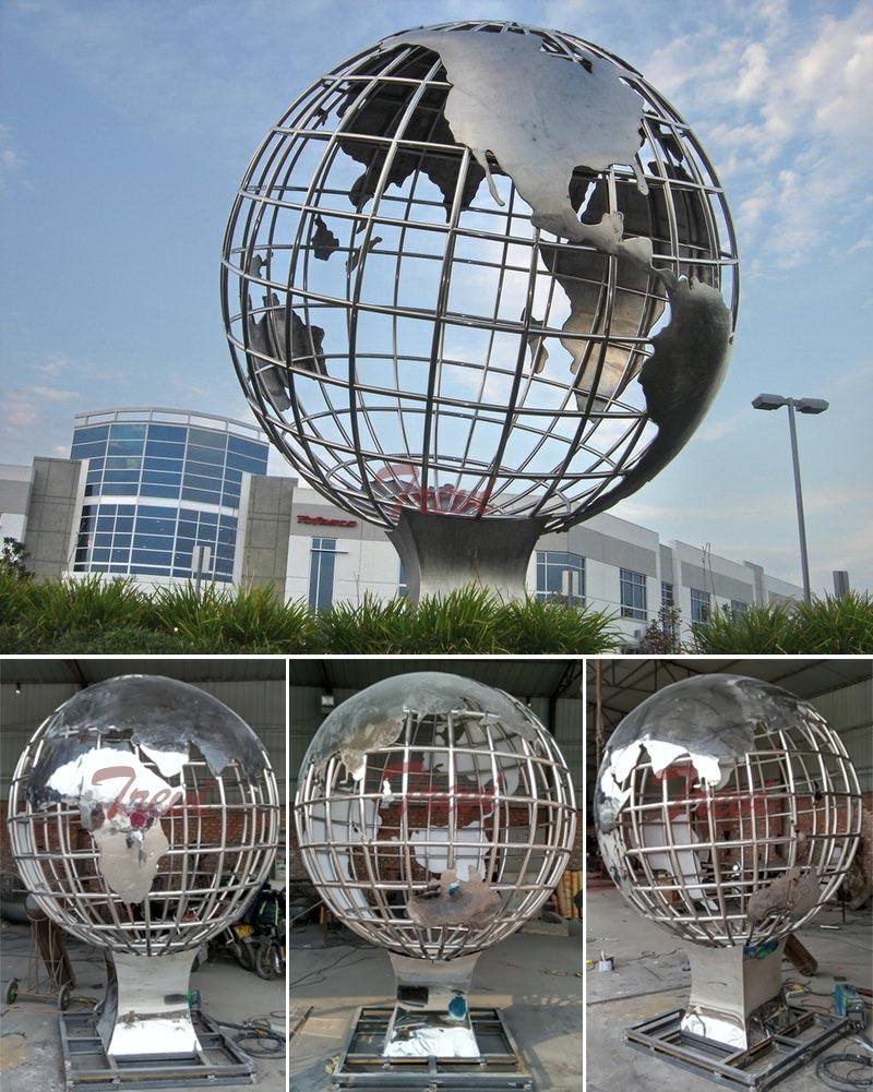 Large stainless steel globe garden sculpture details