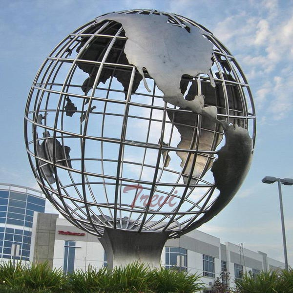 Large stainless steel globe garden sculpture for sale TSS-26