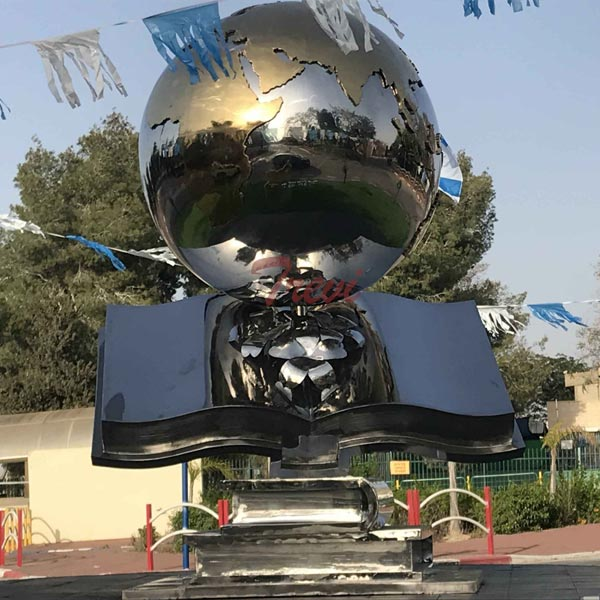 Modern garden ornaments high polished stainless steel global with books sculpture for sale TSS-24