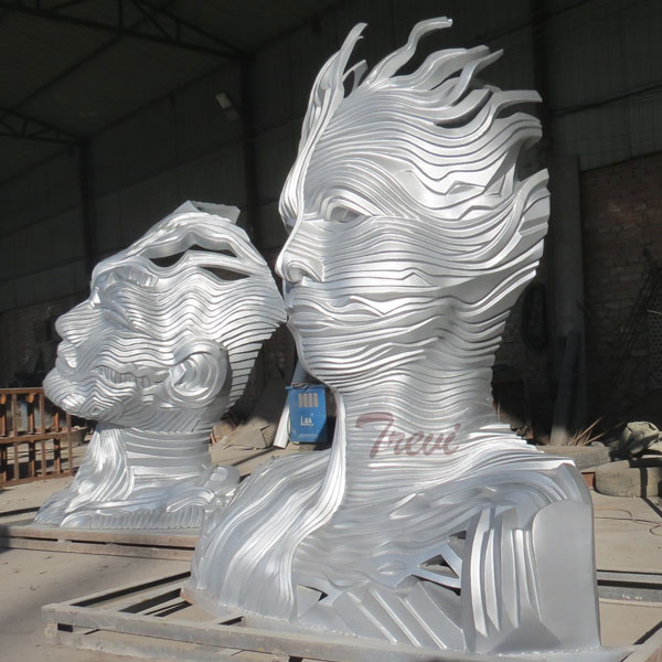 Modern metal abstract man face stainless steel public statues for outside park TSS-24