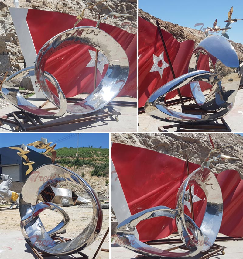 Outdoor abstract medorn art high polished stainless steel garden ornaments details