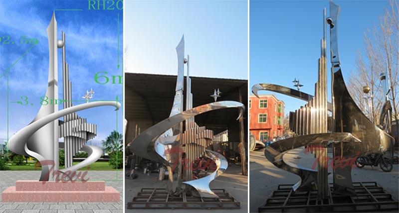 Outdoor mirror polished abstract stainless steel sculpture garden art artists designs