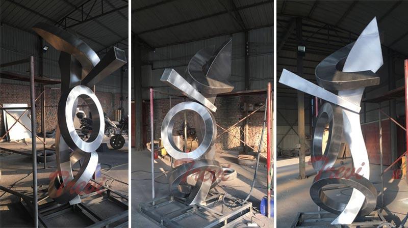 large abstract stainless steel sculpture modern metal art for outdoor garden decor manufacturers