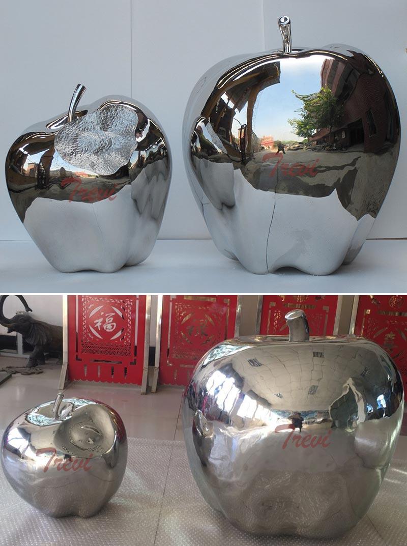 large metal yard sculptures of mirror polished stainless steel apple designs