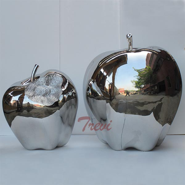 large metal yard sculptures of mirror polished stainless steel apple for sale TSS-39