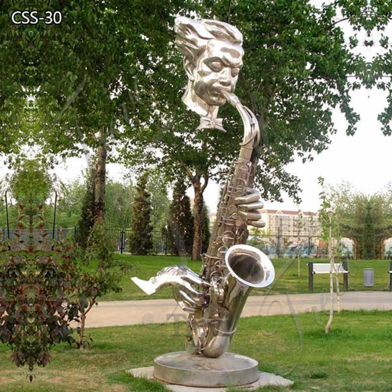 Modern Hotel Decor Large Metal Saxophone Musician Sculpture for Sale