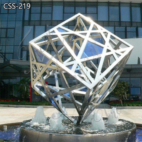 Outdoor Modern Metal Cube Garden Sculptures Stainless Steel Sculpture Factory CSS-219