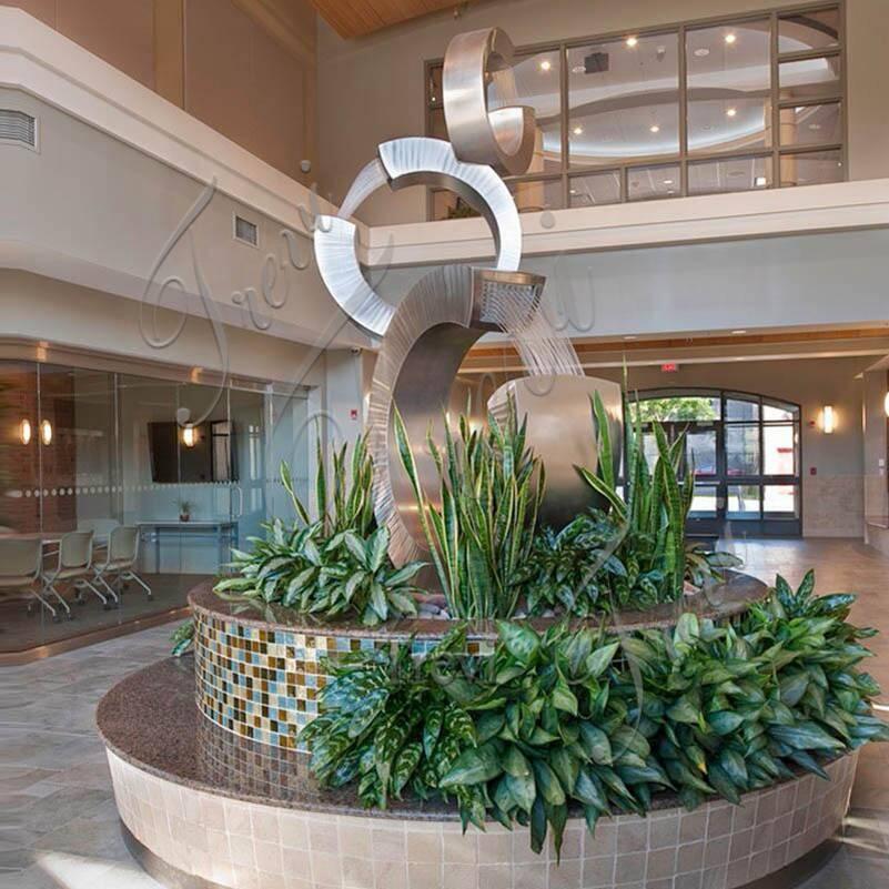 Modern Metal Water Fountain Sculpture Square Decor