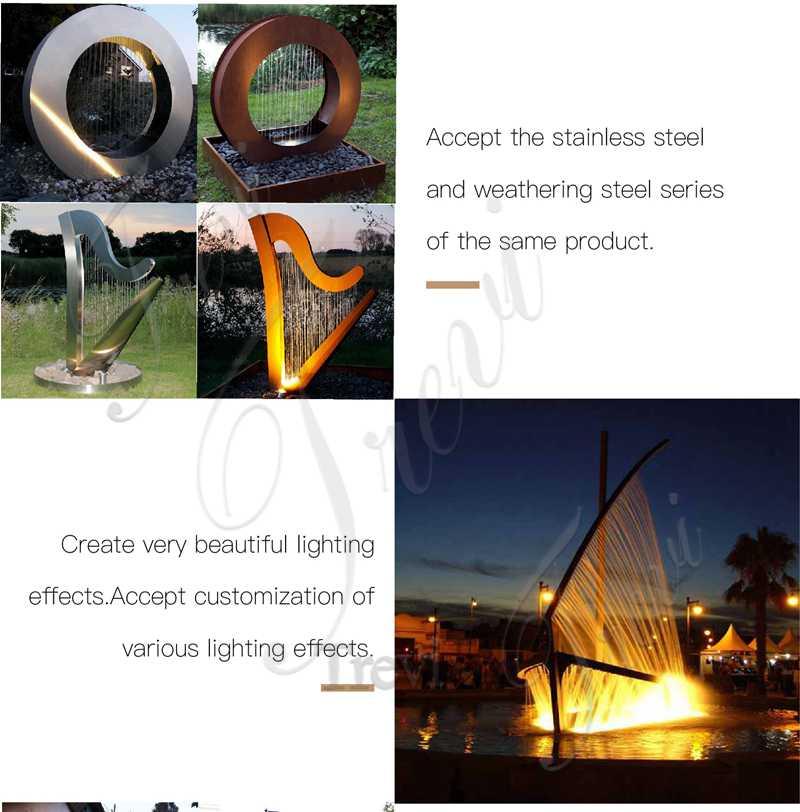 outdoor metal sculpture fountain