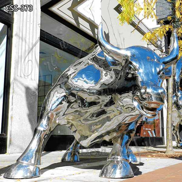 Polished Outdoor Metal Wall Street Bull Statue for Sale CSS-373