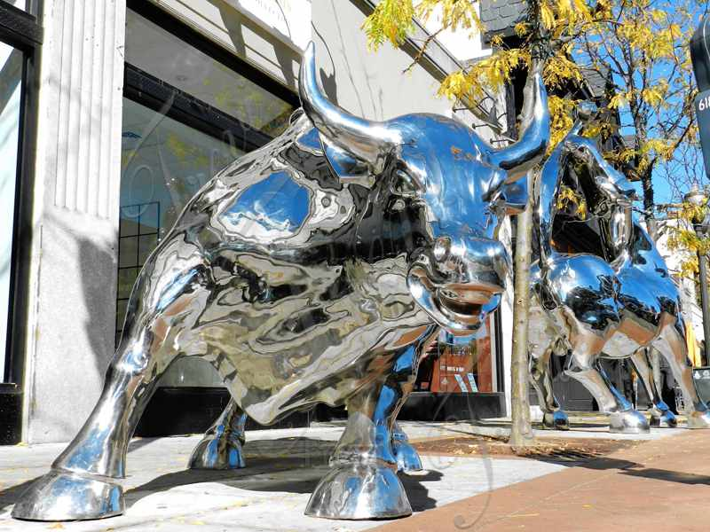 Polished Outdoor Metal Wall Street Bull Statue