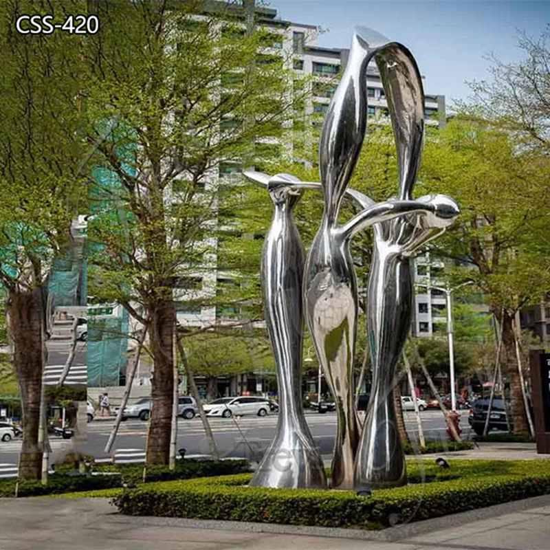 Modern Polished Large Metal Outdoor Sculpture on Sale