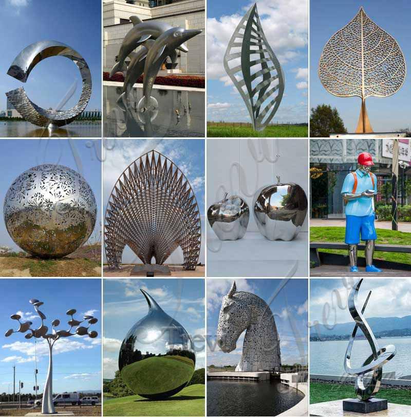 Modern Polished Large Metal Outdoor Sculpture