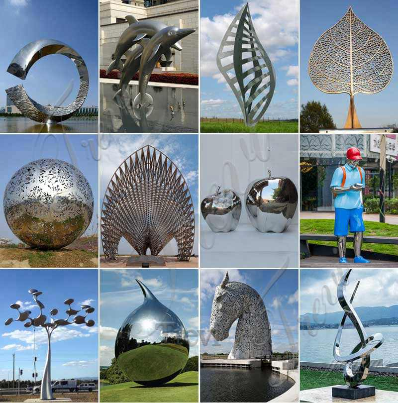 Abstract Stainless Steel Waves Sculpture Plaza Decor for Sale