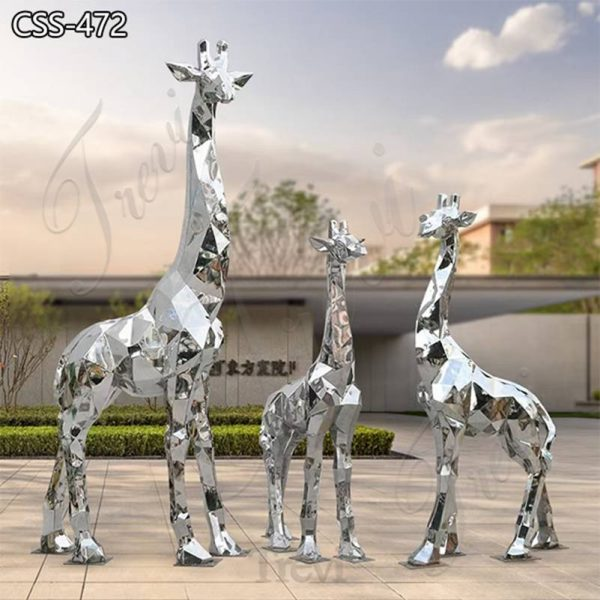 Life Size Metal Giraffe Family Sculpture Square Decor for Sale CSS-472